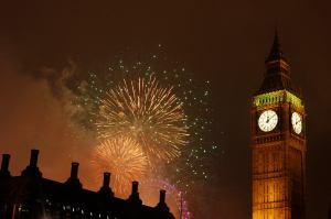 Fireworks explode behind the Big Ben clock on the Houses of Parliament in London
